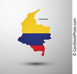 mappa, bandiera, colombia