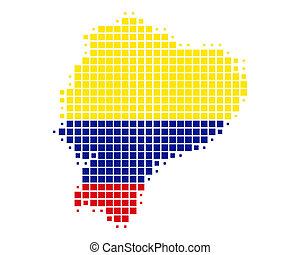 mappa, bandiera, ecuador