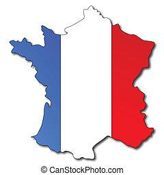 mappa, bandiera, francia francese