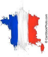 mappa, bandiera, grunge, francia francese
