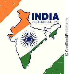 mappa, bandiera, indiano, giorno, indipendenza