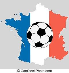 mappa, bandiera, palla, calcio, francia