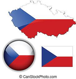 mappa, bandiera, repubblica, lucentezza, ceco