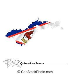 mappa, bandiera, samoa, americano