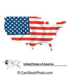 mappa, bandiera, stati uniti