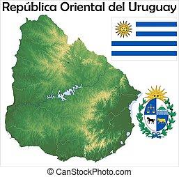 mappa, bandiera, uruguay, cappotto