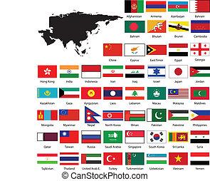 mappa, bandiere, asia