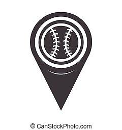 mappa, baseball, puntatore, icona