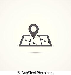 mappa, bianco, icona