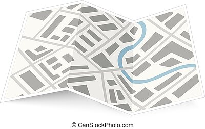 mappa, bianco, piegatura, uggia, città