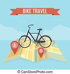 mappa, bicicletta, fondo, viaggiatore