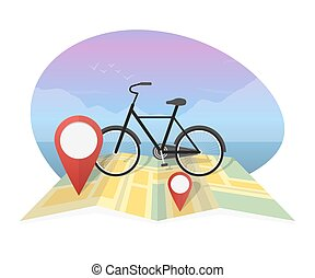 mappa, bicicletta, illustrazione, vettore, fondo, viaggiatore