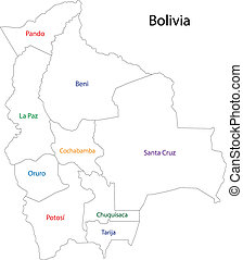 mappa, bolivia, contorno