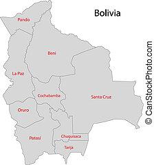 mappa, bolivia, grigio