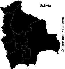 mappa, bolivia, nero