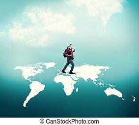 mappa, camminare, attraverso, mondo
