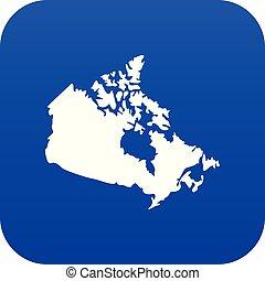 mappa canada, blu, icona, digitale
