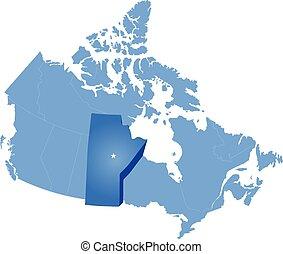mappa canada, -, provincia, manitoba