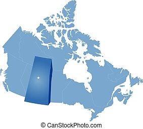 mappa canada, -, provincia, saskatchewan