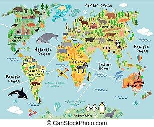 mappa, cartone animato, mondo
