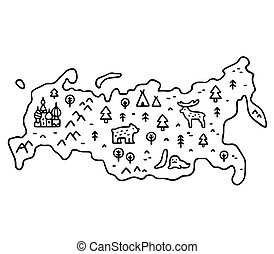 mappa, cartone animato, russia