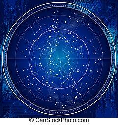 mappa, celestiale, cielo, notte
