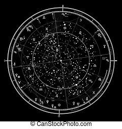 mappa, celestiale, oroscopo, astrologico, 2021.