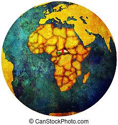 mappa, centrale, globo, bandiera, repubblica, africano