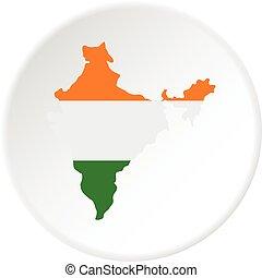 mappa, cerchio, indiano, icona