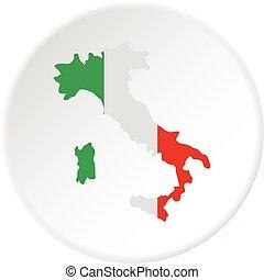 mappa, cerchio, italia, icona