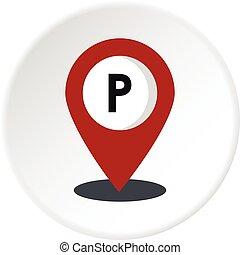 mappa, cerchio, puntatore, icona