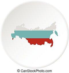 mappa, cerchio, russia, icona