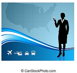 mappa, ci, fondo, viaggiatore, femmina, affari