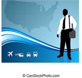 mappa, ci, viaggiatore, backgroundtraveler, affari