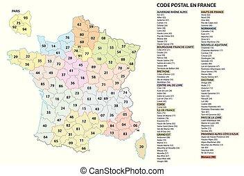 mappa, cifra, codici, postcodes, francia, vettore, 2, postale