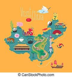 mappa, cinese, icone, limiti, illustrazione, vettore, porcellana, design.