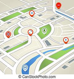 mappa, città, astratto