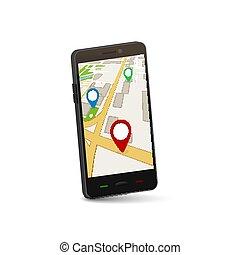 mappa, città, mobile, concept., domanda, vettore, 3d, navigazione, gps