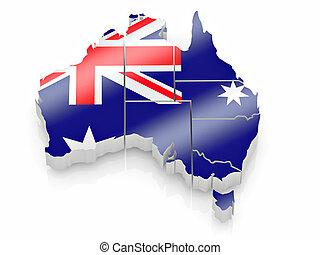 mappa, colori, bandiera australia, australiano