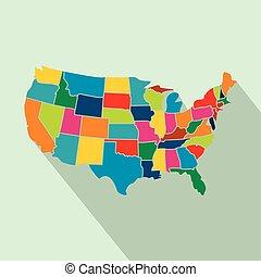 mappa, colorito, stati uniti, appartamento, stati, icona