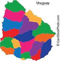 mappa, colorito, uruguay