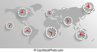 mappa, concetto, affari, orologio, fondo, mondo