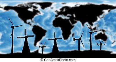 mappa, concetto, ammobiliato, questo, immagine, nasa., elementi, rinnovabile, mondo, turbina, risparmiare, terra