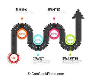mappa, concetto, success., direzionale, infographic., strada, sinuosità, vettore, strada, sentiero, viaggio, viaggio, viaggiare