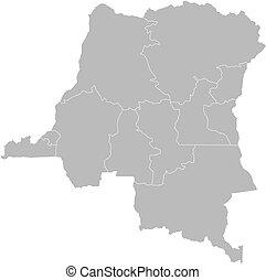 mappa, congo, repubblica, democratico