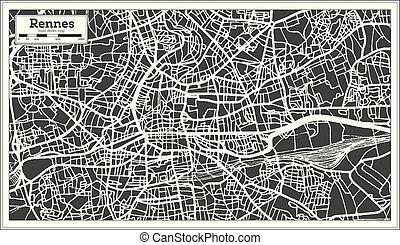 mappa, contorno, città, map., francia, retro, rennes, style.