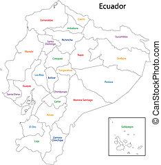 mappa, contorno, ecuador