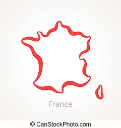 mappa, -, contorno, francia