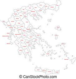 mappa, contorno, grecia