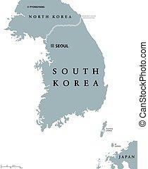 mappa, corea, politico, sud